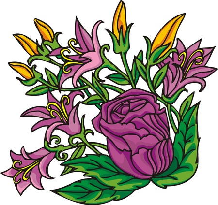 single line: Hearts & Flowers .Vector illustration ready for vinyl cutting.