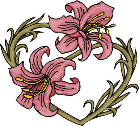 christmas tattoo: Hearts &  Flowers.  illustration ready for vinyl cutting.