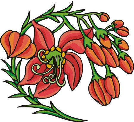 Hearts &  Flowers.  illustration ready for vinyl cutting. Stock Vector - 8760237