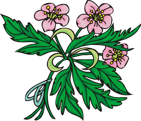 Hearts &  Flowers.  illustration ready for vinyl cutting. Stock Vector - 8760153