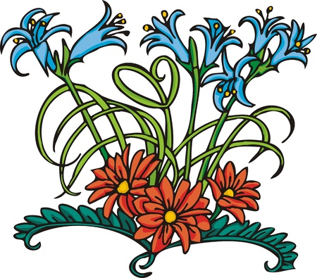 Hearts & Flowers .Vector illustration ready for vinyl cutting. Stock Vector - 8760070