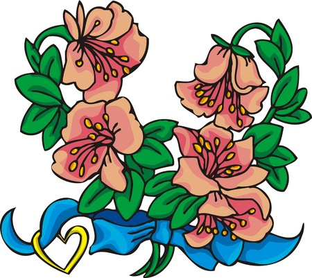 Hearts &  Flowers.  illustration ready for vinyl cutting. Stock Vector - 8760151