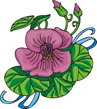 Hearts &  Flowers .Vector illustration ready for vinyl cutting.