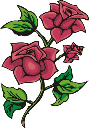 classics: Hearts & Flowers .Vector illustration ready for vinyl cutting.