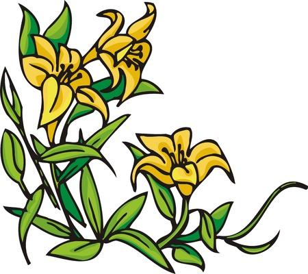 Flowers .Vector illustration ready for vinyl cutting. Vector Illustration