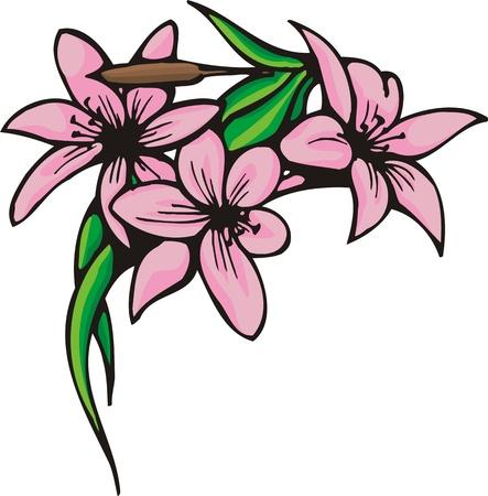 Flores.Ilustración de vector listo para el corte de vinilo.