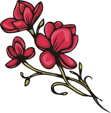 Flowers .Vector illustration ready for vinyl cutting. Stock Vector - 8760785