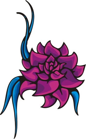 christmas tattoo:  Flowers .Vector illustration ready for vinyl cutting. Illustration