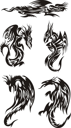 Five dragons: two of which look against each other. Lines dragons.Vector illustration ready for vinyl cutting. Vector