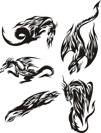 Flight of five black dragons. Lines dragons. Vector illustration ready for vinyl cutting. Vector