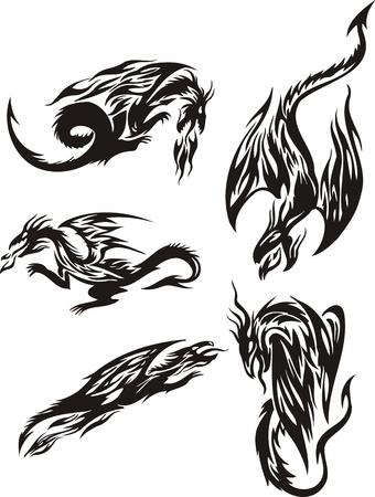Flight of five black dragons. Lines dragons. Vector illustration ready for vinyl cutting. Vector
