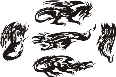 Five linear black dragons. Lines dragons. Vector illustration ready for vinyl cutting. Vector