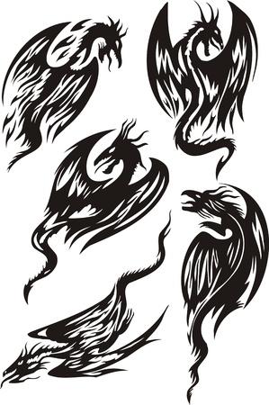 tatuaje dragon: Cinco dragones negros cazan. L�neas de dragones. Ilustraci�n de vector listo para el corte de vinilo.