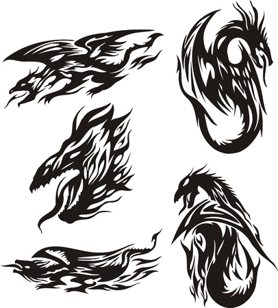 Head of a dragon and four small dragons. Lines dragons. Vector illustration ready for vinyl cutting. Vector