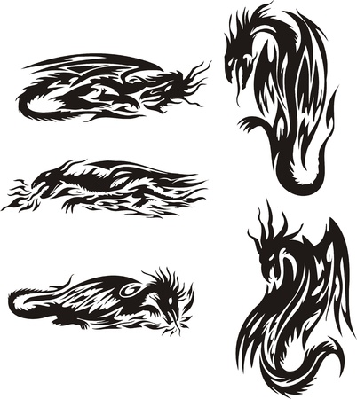 Dragons throw up a flame. Lines dragons. Vector illustration ready for vinyl cutting. Vector