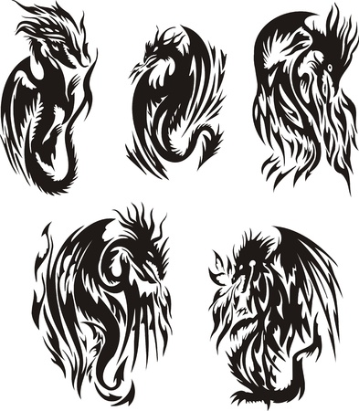 Five black dragon. Lines dragons. Vector illustration ready for vinyl cutting. Vector