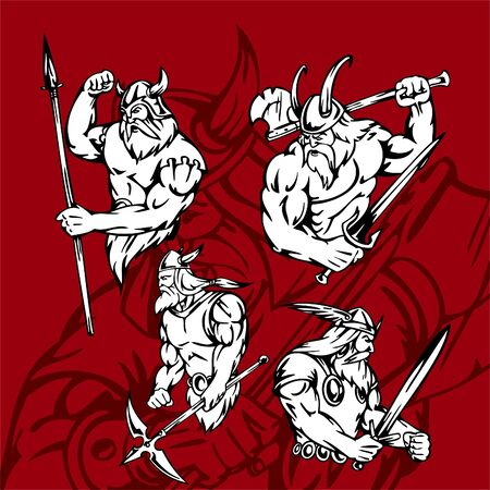 displeased: Vikings.Vector Illustration.Vinyl Ready.