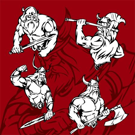 vikingo: Lista de Illustration.Vinyl de Vikings.vector. Vectores