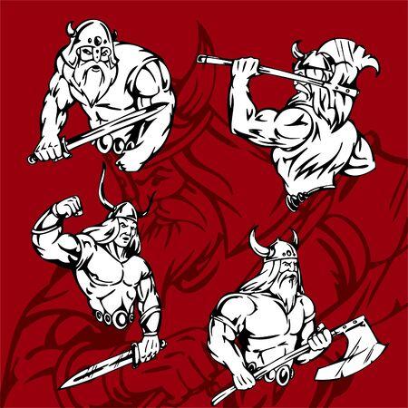 Vikings.Vector Illustration.Vinyl Ready. Stock Vector - 8760020
