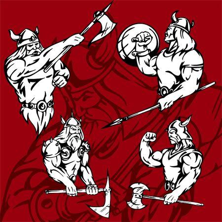 Vikings.Vector Illustration.Vinyl Ready. Stock Vector - 8760018