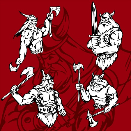 shielding: Vikings.Vector Illustration.Vinyl Ready.