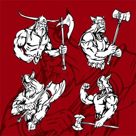 axes: Vikings.Vector Illustration.Vinyl Ready.