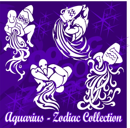 tribal aquarius: Aquarius.Tribal Zodiac.Vector Illustration.Vinyl Ready. Illustration