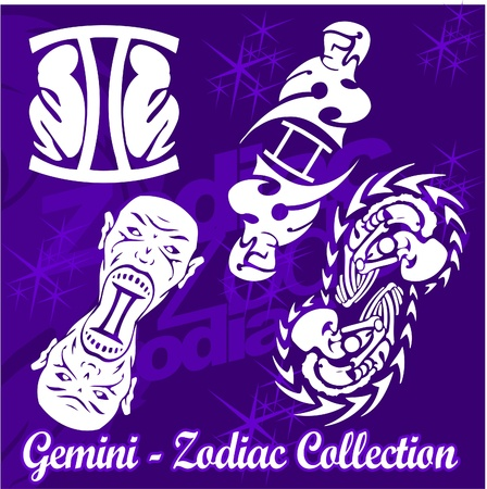 Twins.Tribal Zodiac.Vector Illustration.Vinyl Ready. Stock Vector - 8759882