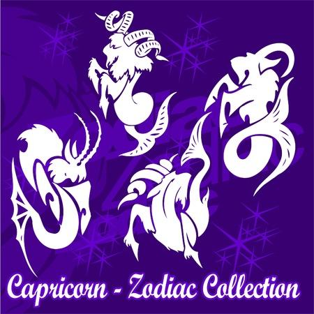 fish rearing: Capricorn.Tribal Zodiac.Vector Illustration.Vinyl Ready. Illustration