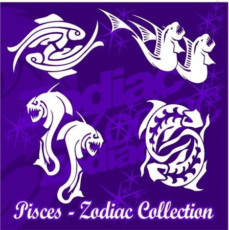 rearing of fish: Fishes.Tribal Zodiac.Vector Illustration.Vinyl Ready.