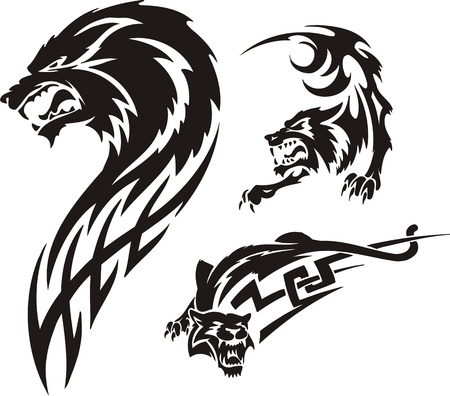 ominous: Three drawings of a wolf. Tribal predators. Vector illustration ready for vinyl cutting.