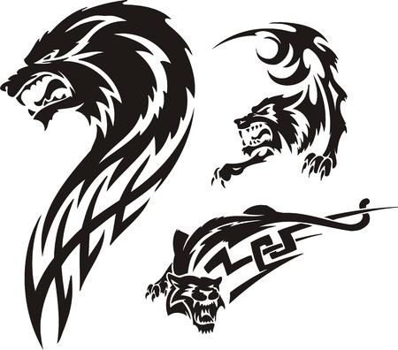 agression: Trois dessins d'un loup. Pr�dateurs tribaux. Vector illustration pr�te pour la d�coupe de vinyle. Illustration