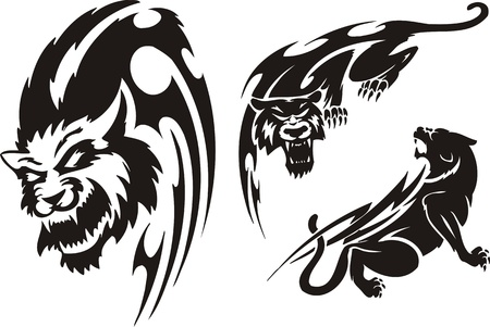 aggression: Head of the big cat, a panther and a lioness. Tribal predators. Vector illustration ready for vinyl cutting. Illustration