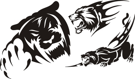 black panthers: Head of a panther and a lioness. Tribal predators. Vector illustration ready for vinyl cutting.
