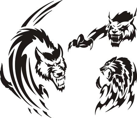 lynx: Dwa Wilk i lynx. Tribal drapieżników. Ilustracja wektora gotowy do cięcia winylu.