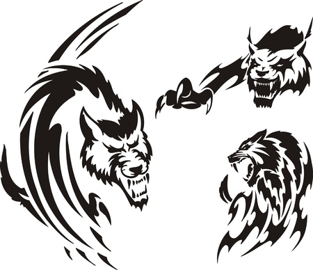 Two wolf and lynx. Tribal predators. Vector illustration ready for vinyl cutting.