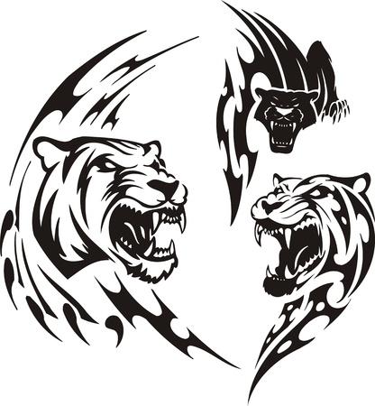 Dos leonas y pantera negra. Tribales de los depredadores. Ilustraci�n de vector listo para el corte de vinilo. Foto de archivo - 8759402