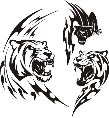 Two lionesses and black panther. Tribal predators. Vector illustration ready for vinyl cutting. Vector