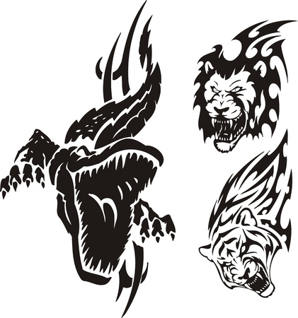 cocodrilo: El cocodrilo ha abierto una boca, un Le�n y un tigre. Depredadores tribales. Ilustraci�n vectorial listo para corte de vinilo.