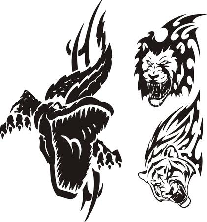 agression: Le crocodile a ouvert une bouche, un lion et un tigre. Tribales pr�dateurs. Illustration vectorielle est pr�te pour la d�coupe de vinyle.