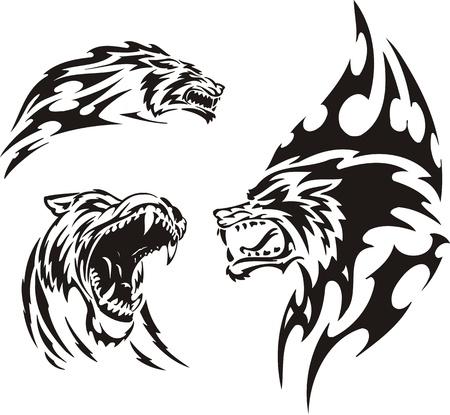 lobo feroz: El lobo ha abierto una boca. Tribales de los depredadores. Ilustraci�n de vector listo para el corte de vinilo.