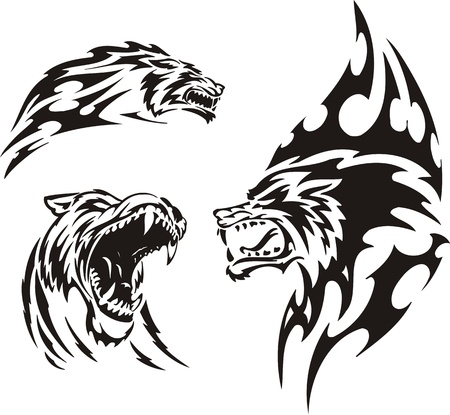 the wolf: Il lupo ha aperto la bocca. Predatori tribale. Illustrazione vettoriale pronta per il taglio di vinile.