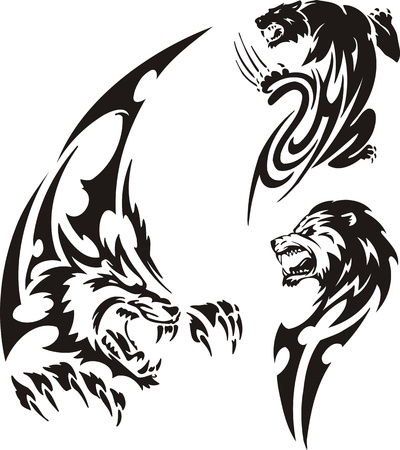 Stolen panther, wolf and lion. Tribal predators. Vector illustration ready for vinyl cutting. Vector