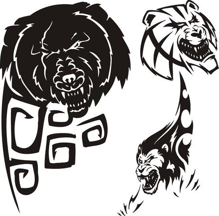 Bear,  anoplogaster and lion. Tribal predators. Vector illustration ready for vinyl cutting. Vector