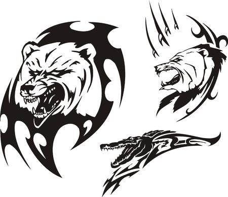agression: Bouche d'un crocodile et deux ours. Pr�dateurs tribaux. Vector illustration pr�te pour la d�coupe de vinyle. Illustration