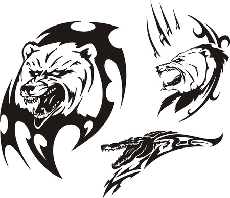 aggression: Mouth of a crocodile and two bears. Tribal predators. Vector illustration ready for vinyl cutting. Illustration