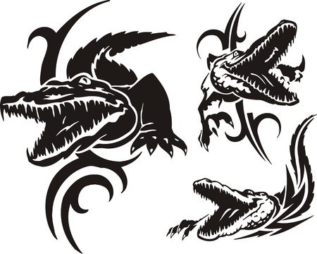 crocodile skin: Three dangerous crocodiles. Tribal predators. Vector illustration ready for vinyl cutting.