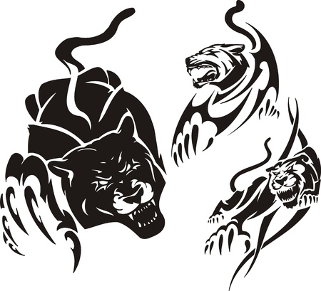 Black panther and two lionesses. Tribal predators. Vector illustration ready for vinyl cutting. Vector