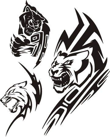 Panther with sharp unguises and a lioness. Tribal predators. Vector illustration ready for vinyl cutting. Vector
