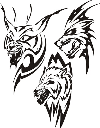 Lynx with sharp canines and two wolves. Tribal predators. Vector illustration ready for vinyl cutting. Vector
